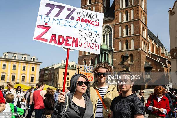 '77% of people against abortion are men None of them will be pregnant' Around 1500 people gathered at the Main Square in Krakow to protest against a...