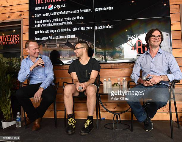 CMO of PepsiCo Simon Lowden recording artist Jack Antonoff and president of Live Nation Media and Partnerships Russell Wallach attend the Fast...