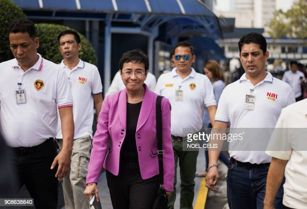 CEO of Philippine news website Rappler Maria Ressa arrives at the National Bureau of Investigation headquarters in Manila on January 22 2018 The head...