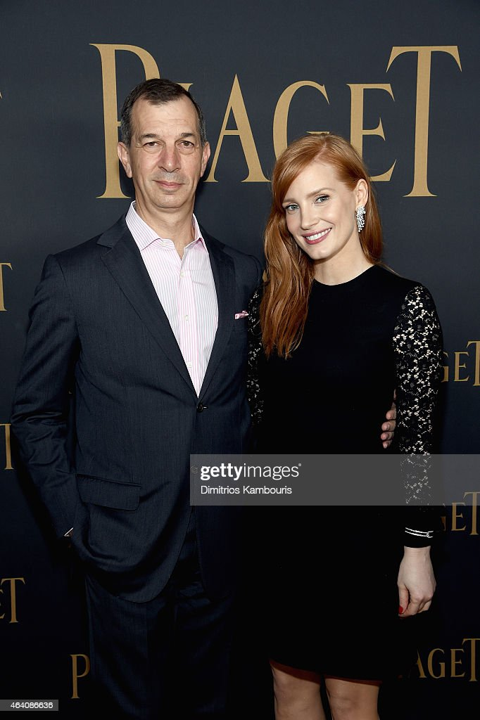 CEO of Piaget S.A., Philippe Leopold-Metzger and actress Jessica Chastain attend the 30th Annual Film Independent Spirit Awards at Santa Monica Beach on February 21, 2015 in Santa Monica, California.