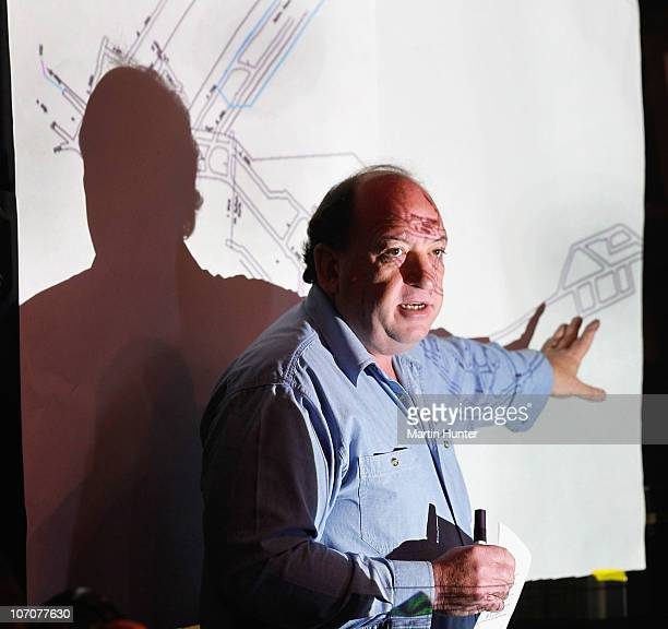 Of Pike River Coal Mine Peter Whittall shows a schematic drawing of the mine on November 23, 2010 in Greymouth, New Zealand. Police authorities...