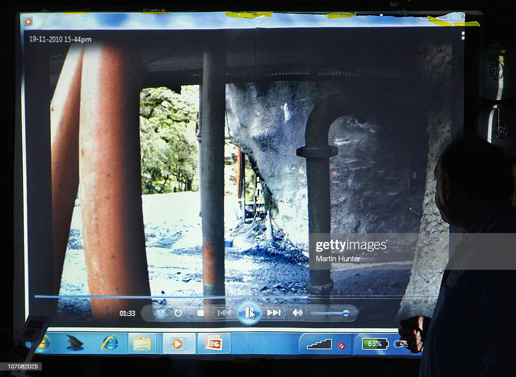 CEO of Pike River Coal Mine Peter Whittall shows CCTV footage of the portal of Pike River mine just before the explosion on November 23, 2010 in Greymouth, New Zealand. Police authorities confirmed two Australians, two Britons, and a South African are amongst the New Zealand mine crew reported missing following a blast at the mine 50 kilometers north of Greymouth on New Zealand's west coast on November 19. There has been no contact with the missing miners since the blast and specialist safety rescue crews are on standby until air and gas levels are cleared as safe for the rescue operation to commence.