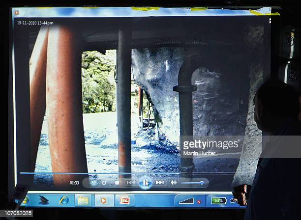 CEO of Pike River Coal Mine Peter Whittall shows CCTV footage of the portal of Pike River mine just before the explosion on November 23 2010 in...