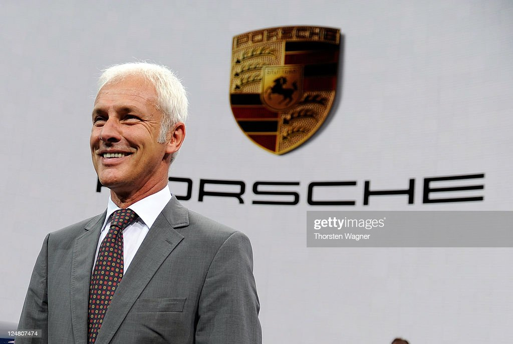 CEO of Porsche AG Matthias Mueller smiles during the press days at the IAA Frankfurt Auto Show on September 13, 2011 in Frankfurt am Main, Germany. The IAA will be open to the public from September 17 through September 25.