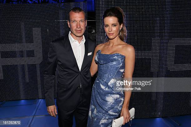 Of Porsche Design Group Juergen Gessler and host Kate Beckinsale attend Porsche Design's 40th Anniversary Event held at a private residence on...