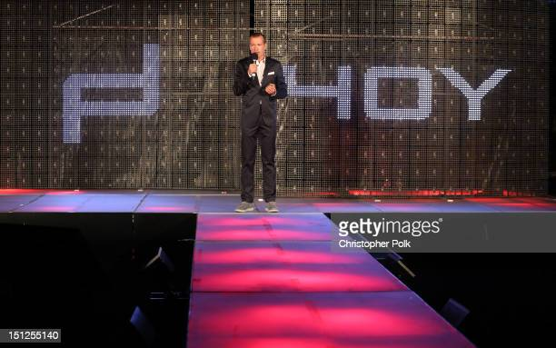 Of Porsche Design Group Juergen Gessler speaks onstage at the Porsche Design's 40th Anniversary Event held at a private residence on September 4,...
