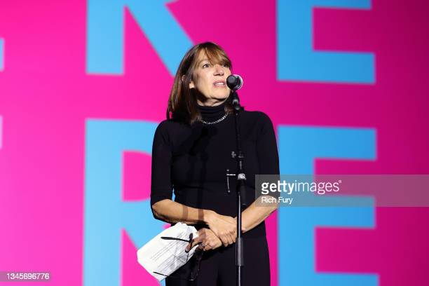 """Of Programming Nina Rosenstein speaks onstage during the """"We're Here"""" Season 2 Premiere at Sony Pictures Studios on October 08, 2021 in Culver City,..."""