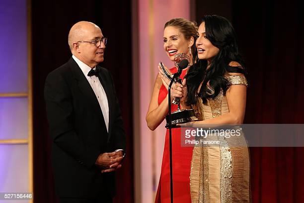 VP of Programs at CNN Espaniol Eduardo Suarez TV personality Maria Alejandra Requena and TV personality Alejandra Oraa speak onstage at the 2016...