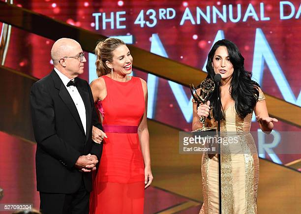 VP of Programs at CNN Espa��ol Eduardo Suarez TV personality Mar��a Alejandra Requena and TV personality Alejandra Oraa attend the 43rd Annual...