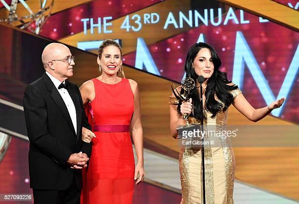 VP of Programs at CNN Espa��ol Eduardo Suarez TV personality Mar��a Alejandra Requena and TV personality Alejandra Oraa speak onstage at the 43rd...