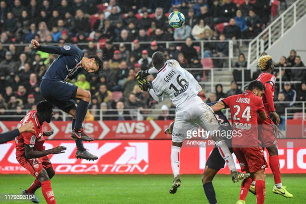 MARQUINHOS of PSG and Alfred GOMIS of Dijon during the Ligue 1 match between Dijon and Paris Saint Germain on November 1 2019 in Dijon France