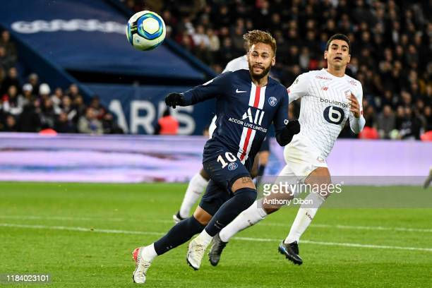 JR of PSG and Benjamin ANDRE of Lille during the Ligue 1 match between Paris SaintGermain and Lille OSC on November 22 2019 in Paris France