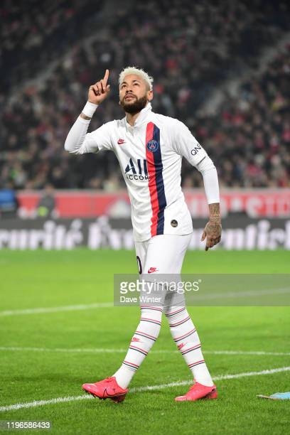 JR of PSG celebrates after he puts his side 20 ahead with a penalty during the Ligue 1 match between Lille and Paris at Stade Pierre Mauroy on...