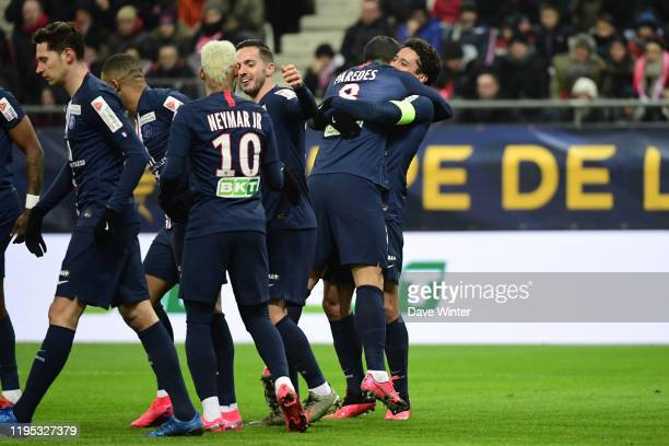 Of PSG is congratulated after he heads his side 1-0 ahead during the League Cup semi-final between Stade de Reims and Paris Saint-Germain at Stade...