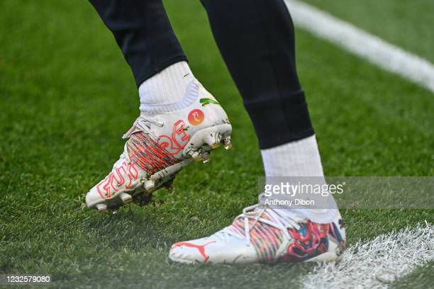 Of PSG wears special shoes during the UEFA Champions League, semi-finals match between Paris Saint Germain and Manchester City at Parc des Princes on...