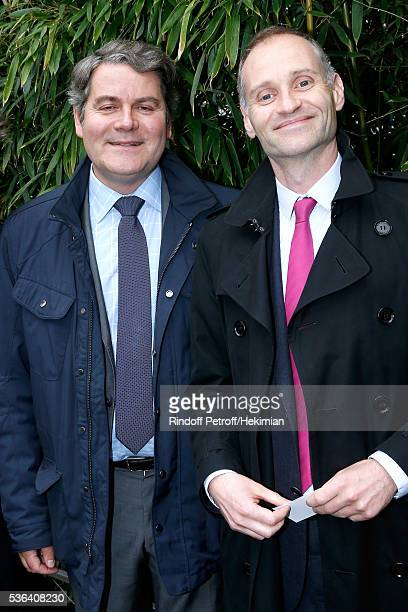 CEO of Publicis Events Franck Louvrier and Politician journalist Fabien Namias attend Day Eleven of the 2016 French Tennis Open at Roland Garros on...