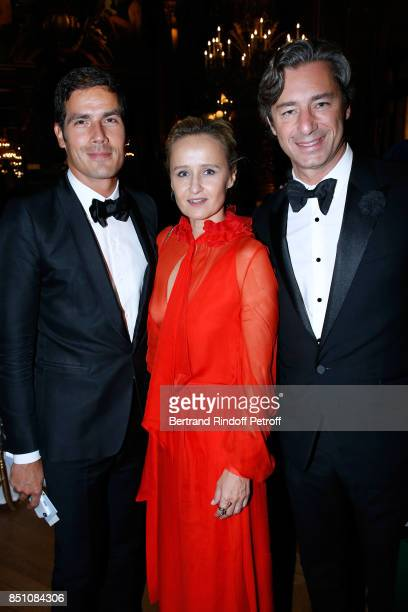 CEO of Radio France Mathieu Gallet Caroline Roux and General Director of Facebook France Laurent Solly attend the Opening Season Gala Ballet of Opera...