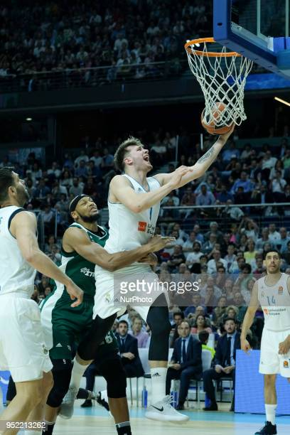 DONCIC of Real Madrid during the 2017/2018 Turkish Airlines Euroleague Play Off Leg Four between Real Madrid v Panathinaikos Superfoods Athens at...