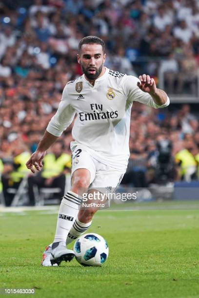 CARVAJAL of Real Madrid in action during the Trofeo Santiago Bernabeu match between Real Madrid and AC Milan at Estadio Santiago Bernabeu on August...