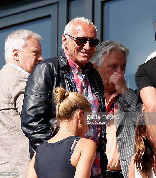 CEO of Red Bull Dietrich Mateschitz smiles on the stands during the Second Bundesliga match between RB Leipzig and Karlsruher SC at Red Bull Arena on...