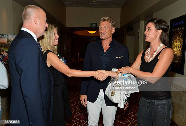 CEO of ReelzChannel Stan E Hubbard Jennifer Hubbard actor Dolph Lundgren and Jenny Sandersson attend the screening of World Without End presented by...