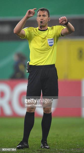 of Referee Felix Zwayer gestures during the DFB Cup match between SC Paderborn and FC Ingolstadt at Benteler Arena on December 19 2017 in Paderborn...