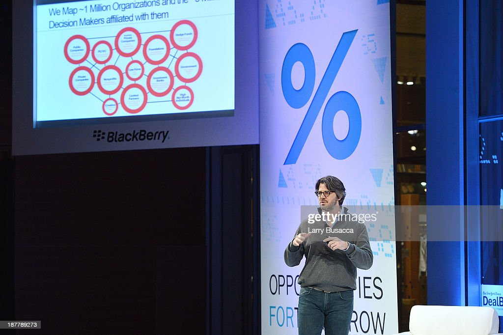CEO of Relationship Science Neal Goldman speaks at the New York Times 2013 DealBook Conference in New York at the New York Times Building on November 12, 2013 in New York City.