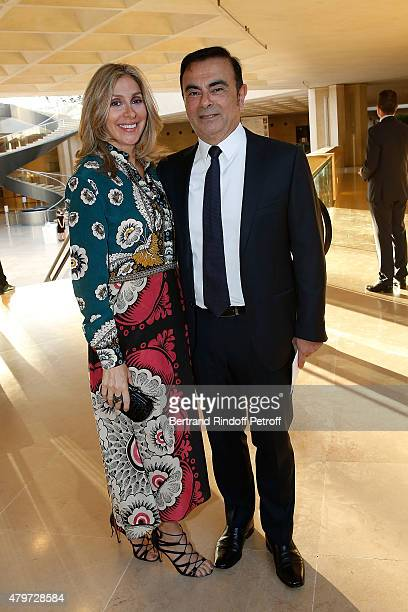 CEO of Renault Carlos Ghosn and his wife Carole attend the Dinner for the Fine Art Of Jewelry and Time Pieces at Louvre on July 6 2015 in Paris France