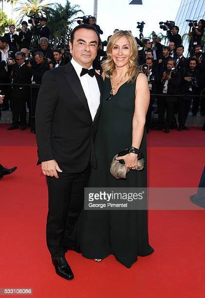 CEO of Renault Carlos Ghosn and his wife Carole Ghosn attend the screening of 'The Last Face' at the annual 69th Cannes Film Festival at Palais des...