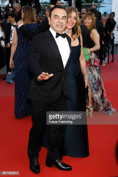 CEO of Renault Carlos Ghosn with his wife Caroline Ghosn at the Ash Is The Purest White premiere during the 71st Cannes Film Festival at the Palais...