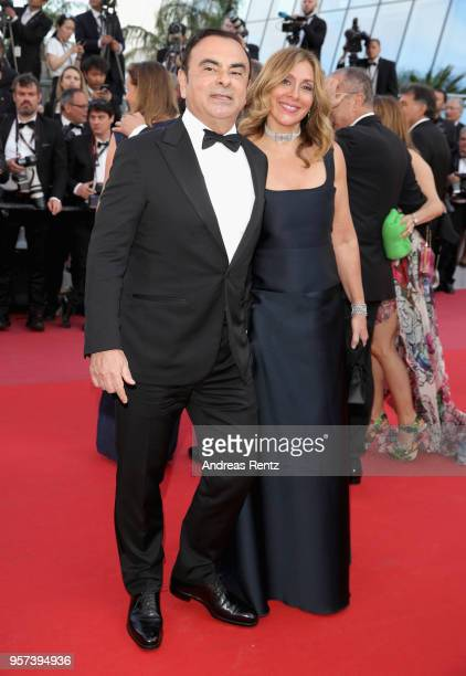 CEO of Renault Carlos Ghosn with his wife Caroline Ghosn attend the screening of Ash Is The Purest White during the 71st annual Cannes Film Festival...
