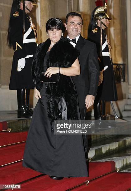 CEO of Renault cars Carlos Ghosn and wife Rita in Paris France on March 10th 2008