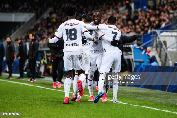 Of Rennes celebrates his goal with team mates during the French Cup Soccer match between Belfort and Rennes on February 11, 2020 in Belfort, France.
