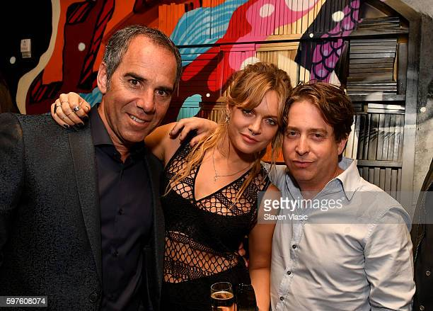 CEO of Republic Records Monte Lipman Island Records Artist Tove Lo and Charlie Walk attend a celebration with Republic Records and Guess after the...