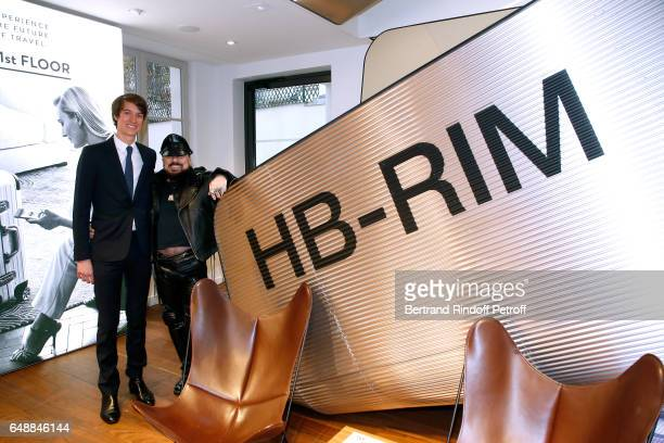 CEO of Rimowa Alexandre Arnault and Peter Marino attend the Opening of the Boutique Rimowa 73 Rue du Faubourg Saint Honore in Paris on March 6 2017...