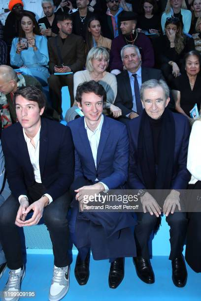 Of Rimowa, Alexandre Arnault, Frederic Arnault and Owner of LVMH Luxury Group Bernard Arnault attend the Louis Vuitton Menswear Fall/Winter 2020-2021...