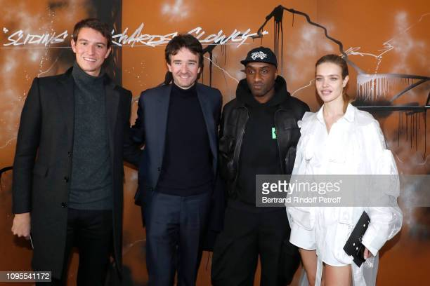 CEO of Rimowa Alexandre Arnault his brother General manager of Berluti Antoine Arnault Stylist Virgil Abloh and Natalia Vodianova pose after the...