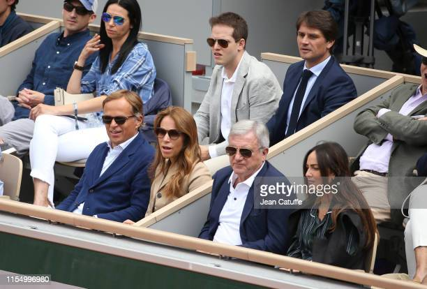 CEO of Rolex JeanFrederic Dufour CEO of LVMH Fashion Group Sidney Toledano above Arnaud Boetsch attend the men's final during day 15 of the 2019...
