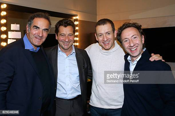 CEO of RTL France Radio Christopher Baldelli Laurent Gerra Dany Boon and Stephane Bern pose Backstage after the 'Dany De Boon Des HautsDeFrance' Show...