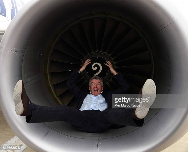 CEO of Ryanair Micheal O 'Leary poses during the Ryanair Aircraft maintenance hanger opening on October 19 2016 in Bergamo ItalyRyanair low cost...