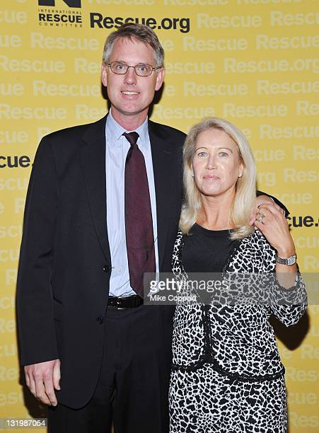 CEO of Safe Water Network Kurt Soderlund and Vice President of Newman's Own Clea Newman Soderlund walk the red carpet for the International Rescue...