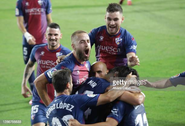Of SD Huesca during the La Liga SmartBank match between SD Huesca and Numancia at El Alcoraz on July 17, 2020 in Huesca, Spain.