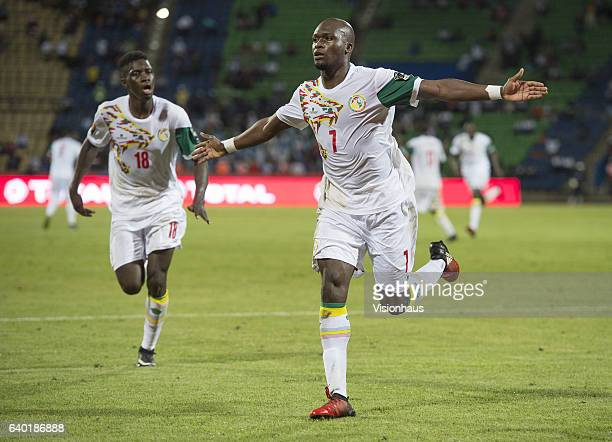 SOW of Senegal celebrates his goal during the Group B match between Senegal and Algeria at Stade Franceville on January 23 2017 in Franceville Gabon