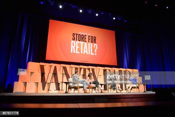CEO of Sephora Americas Calvin McDonald CEO of Barneys Daniella Vitale Founder and CEO of Reformation Yael Aflalo moderator Julia Boorstin speak...