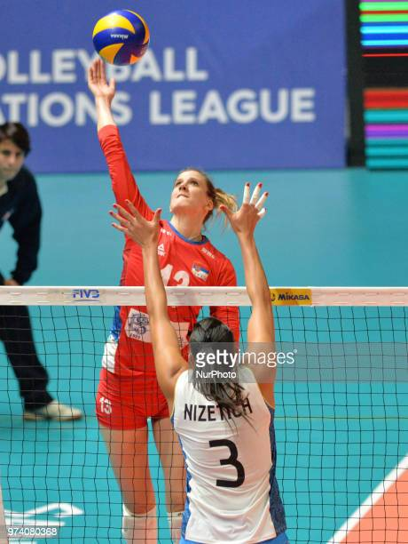 of Serbia in actiion against PAULA YAMILA NIZETICH of Argentina during FIVB Volleyball Nations League match between Argentina and Serbia at the...