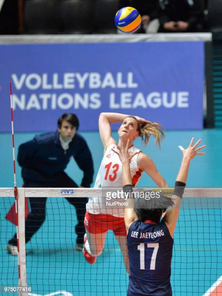 of Serbia in action against JAEYEONG LEE of Korea during FIVB Volleyball Nations League match between Korea and Serbia at the Stadium of the...