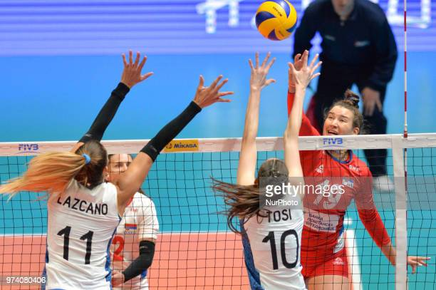 of Serbia in action against JULIETA CONSTANZA LAZCANO and ANAHI FLORENCIA TOSI during FIVB Volleyball Nations League match between Argentina and...