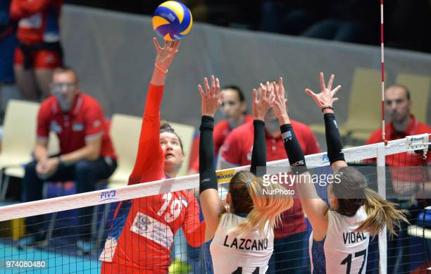 of Serbia in action against JULIETA CONSTANZA LAZCANO and HELENA VIDAL of Argentina during FIVB Volleyball Nations League match between Argentina and...