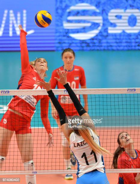 of Serbia in action against JULIETA CONSTANZA LAZCANO of Argentina during FIVB Volleyball Nations League match between Argentina and Serbia at the...