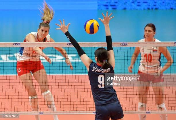 of Serbia in action against SUNAH JEONG of Korea during FIVB Volleyball Nations League match between Korea and Serbia at the Stadium of the...
